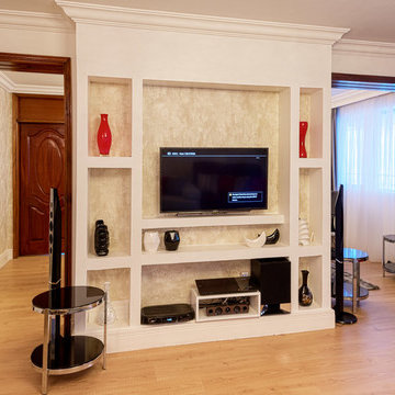 Entertainment Console unit designed within wall niches