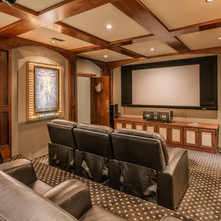 Home Theater Mediterranean Enclosed Carpeted And Multicolored Floor Idea In Nashville With Beige