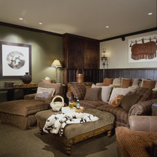 Rustic Home Theater by Interior Concepts, Inc.
