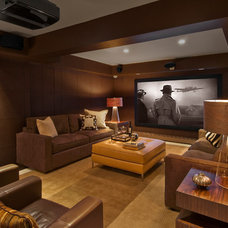 Transitional Home Theater by Frances Herrera Interior Design
