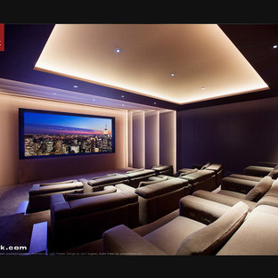 Inspiration for a modern home theatre in Los Angeles.