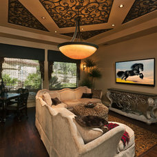 Mediterranean Home Theater by Trinity Custom Builders