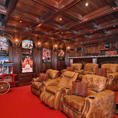 eclectic media room by Liggatt Development, Inc
