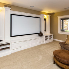 Transitional Home Theater by Bella Homes