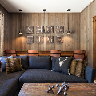 Home theater - rustic home theater idea in Sacramento