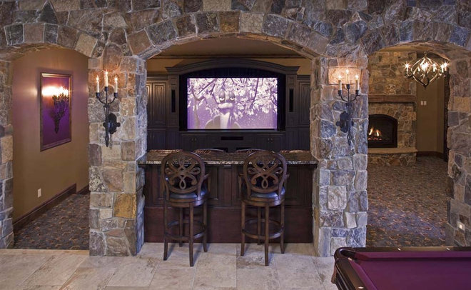 Traditional Home Theater by Hendel Homes