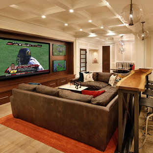Design ideas for a traditional home theatre in San Francisco with a wall-mounted tv.