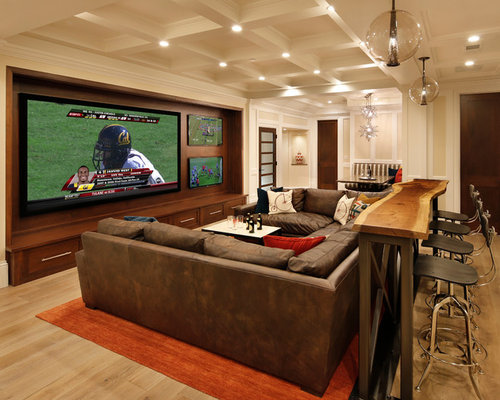 Good Inspiration For A Timeless Home Theater Remodel In San Francisco With A  Wall Mounted Tv