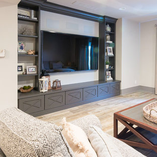 Family Room with Custom Book Shelves in West Chester Basement