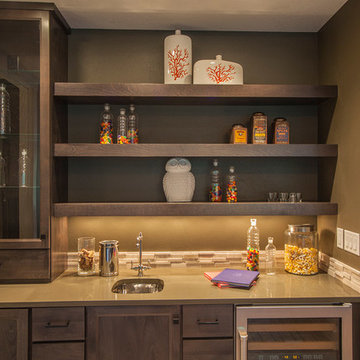 Family/Theater Room Wet Bar - The Finleigh - Transitional Craftsman on Corner Lo