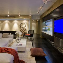 modern media room by FORMA Design
