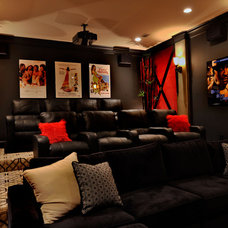 Transitional Home Theater by The Design Firm