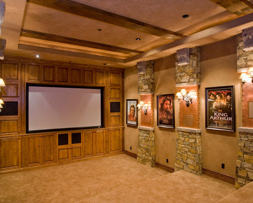 Best Farmhouse Home Theater With A Built In Media Wall