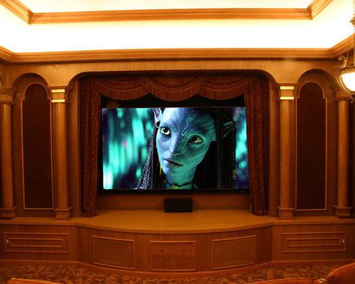 salle de cin ma r tro avec un mur bleu photos et id es d co de salles de cin ma. Black Bedroom Furniture Sets. Home Design Ideas