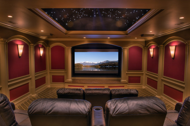 Traditional Home Theater by Gabriel Builders Inc.