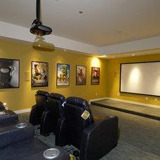 Contemporary Home Theater by square three design studios
