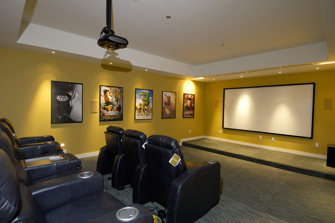 Contemporary Home Theater by square three design studios