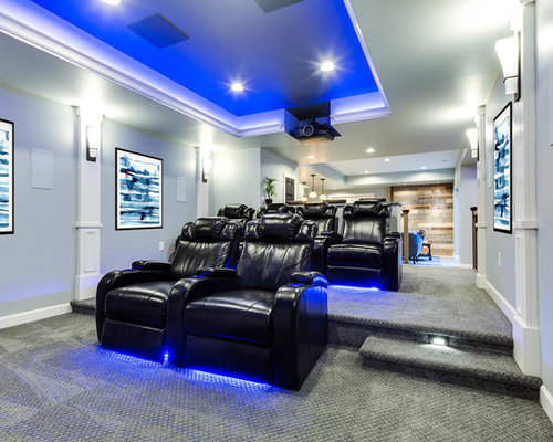 Inspiration For A Transitional Enclosed Carpeted And Gray Floor Home Theater  Remodel In Baltimore With Gray
