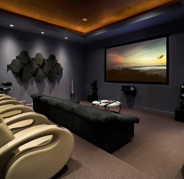 Contemporary Home Theater by JAUREGUI Architecture Interiors Construction