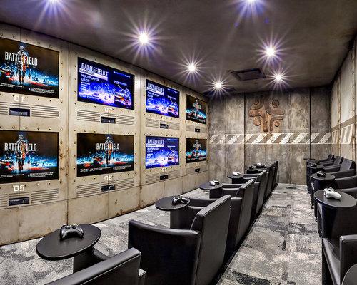 75 industrial home cinema design ideas stylish industrial home