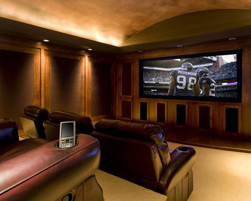 example of a large classic enclosed home theater design in portland with carpet - Home Theatre Design