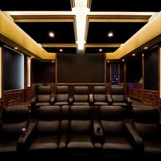 Eclectic Home Theater by Home Design by Annie