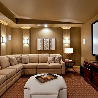 Example Of A Large Clic Enclosed Carpeted And Red Floor Home Theater Design In Dallas With Save Photo Glamorous Media Room