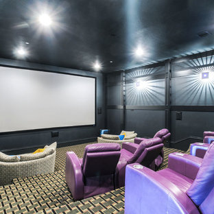 Example Of A Trendy Enclosed Carpeted And Multicolored Floor Home Theater  Design In Dallas With Black