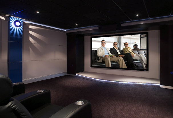 Contemporary Home Theater by Harth Builders