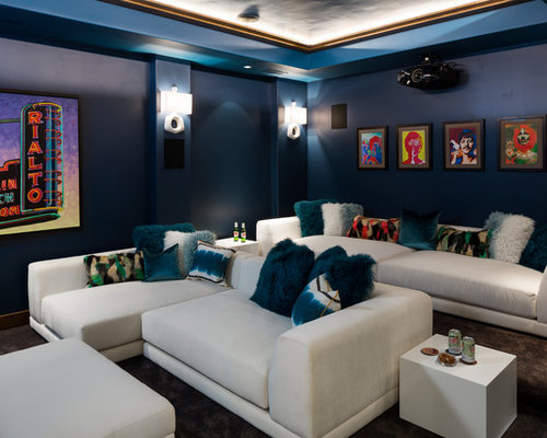 Transitional Enclosed Home Theater Idea In Other With Blue Walls, Carpet, A  Projector Screen