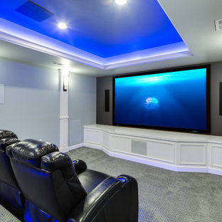 Transitional home theater photo in Baltimore