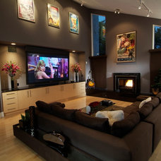 modern media room by bronwyn swackhamer