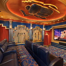 Eclectic Home Theater by Gary Keith Jackson Design Inc