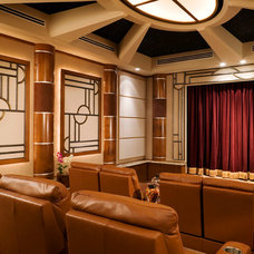 Mediterranean Home Theater by Gregory A. Jones Architecture