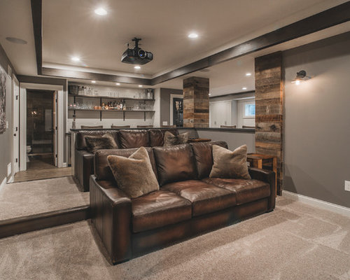 rustic open concept home theater design ideas remodels