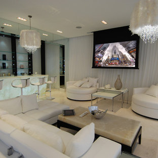 Photo of a mid-sized modern enclosed home theatre in Toronto with white walls, marble floors and a projector screen.