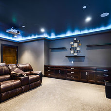Transitional Home Theater by Currant Interior Design