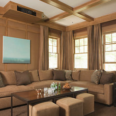 Transitional Home Theater by Tim Barber LTD Architecture & Interior Design