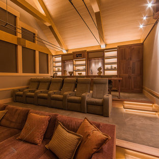 Inspiration for a rustic home theater remodel in Denver