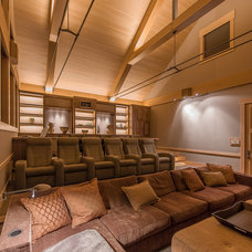 Rustic Home Theater by Kelly & Stone Architects