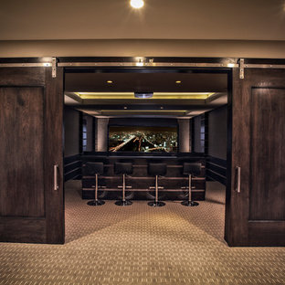 Home theater - traditional carpeted home theater idea in Salt Lake City