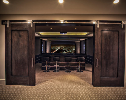 Contemporary Home Theater Idea In Salt Lake City With Carpet