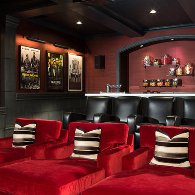 Example of a large transitional enclosed carpeted and multicolored floor home theater design in Atlanta with red walls