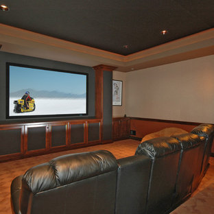 Inspiration for a timeless enclosed home theater remodel in Seattle with a media wall