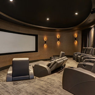 Perfect Lighting Home Theater Floor Transitional Enclosed Carpeted And Gray Idea In For I
