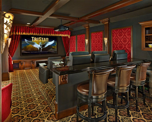 Elegant Enclosed Carpeted And Multicolored Floor Home Theater Photo In  Dallas With Black Walls And A