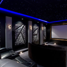 Contemporary Home Theater by Chris Jovanelly Interior Design