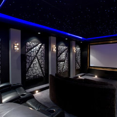 contemporary media room by Chris Jovanelly Interior Design