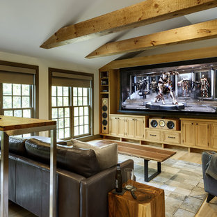 Rural enclosed home cinema in New York with light hardwood flooring and a projector screen.