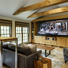 Farmhouse Home Theater by Crisp Architects